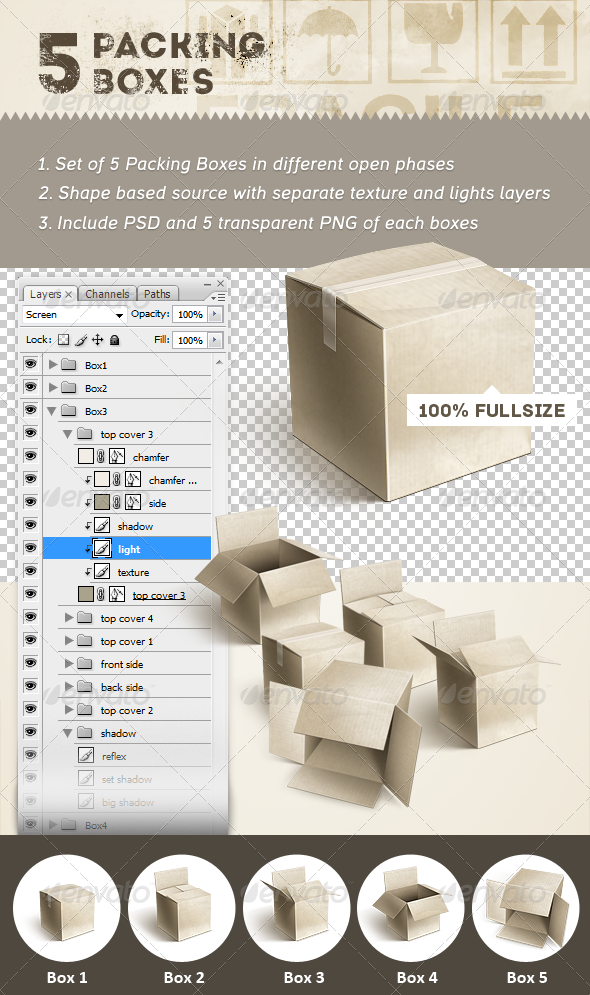 GraphicRiver 5 Packing Boxes 4602596