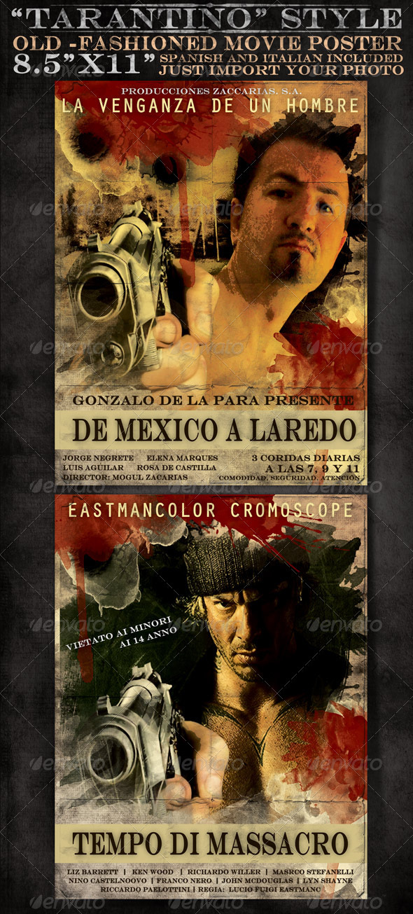 "8x5""x11"" Mexican and Italian Desperado Film Poster - Clubs & Parties Events"