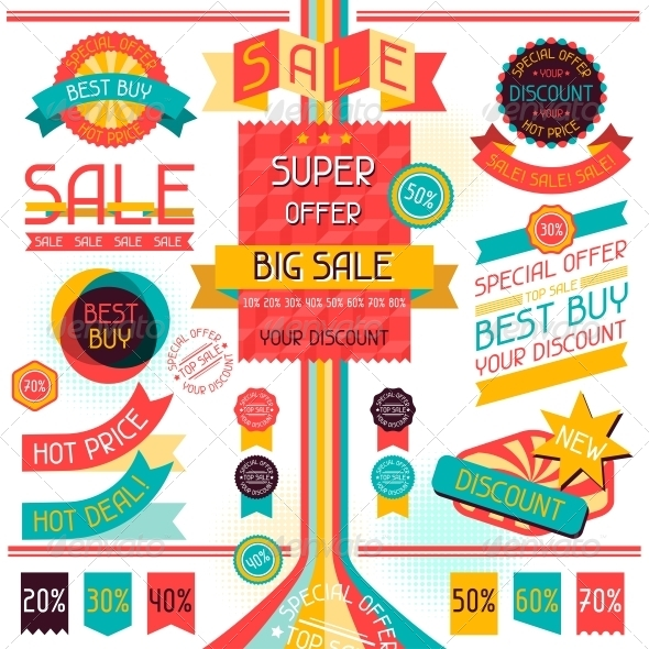 GraphicRiver Set of Sale Labels and Stickers in Retro Stile 4676693