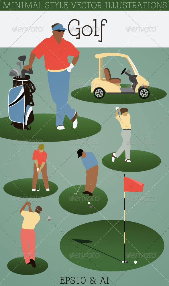 GraphicRiver Golf Players Golf Cart Golf Clubs 4677626