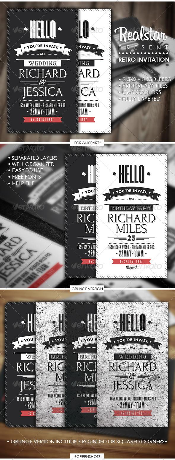GraphicRiver Retro Invitation 4677695