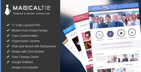 ThemeForest MagicalTie Unique PSD Template 4631810
