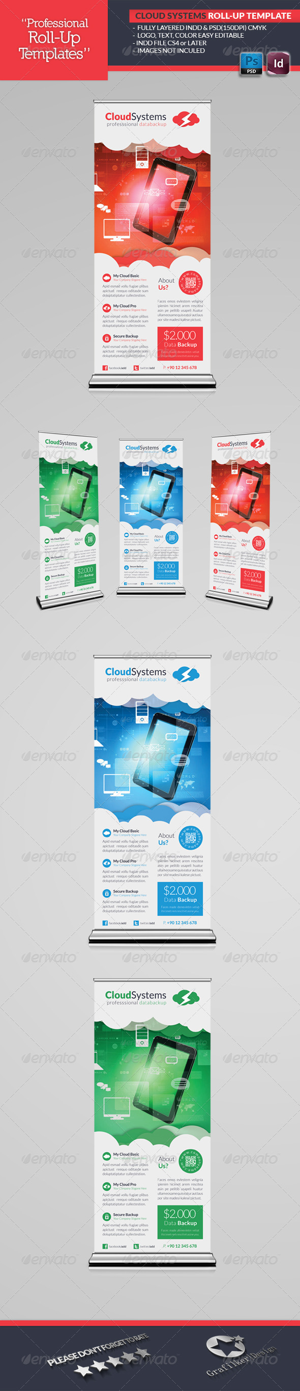 Cloud Systems Roll-Up Template - Signage Print Templates