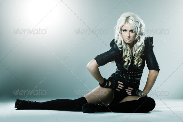 Young blonde in attractive high fashion black clothes - Stock Photo - Images