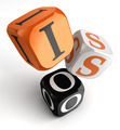 Iso orange black dice blocks - PhotoDune Item for Sale