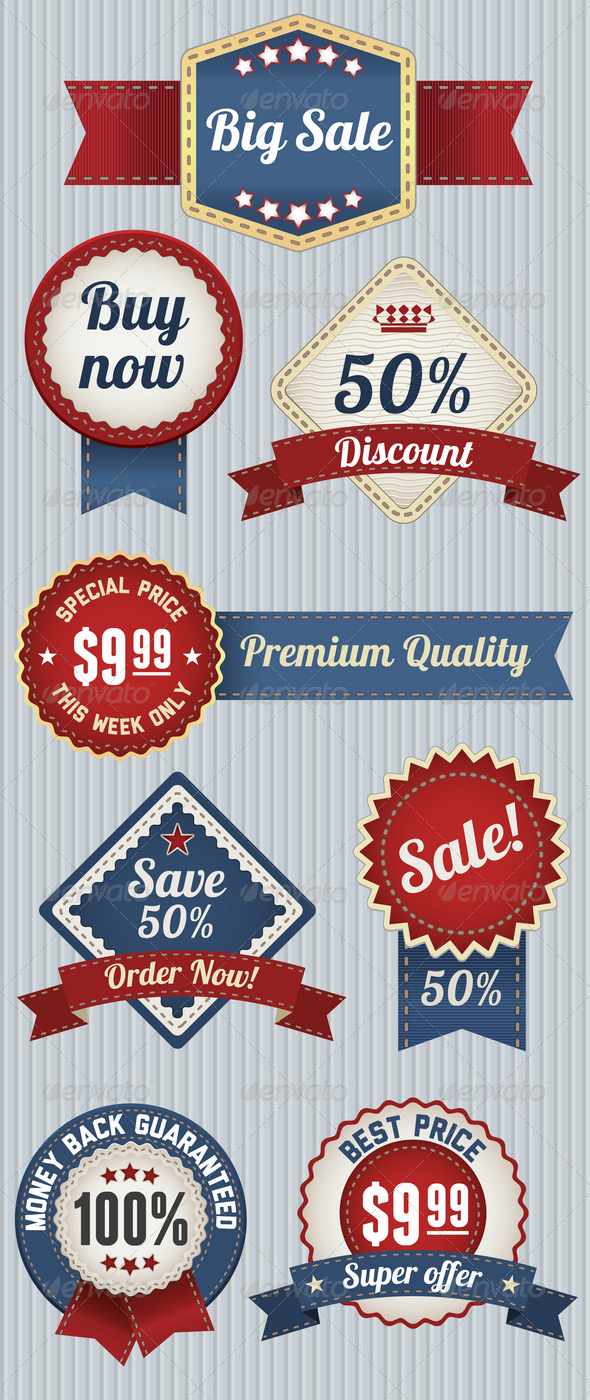GraphicRiver Retro Sale Badges Set 4680172