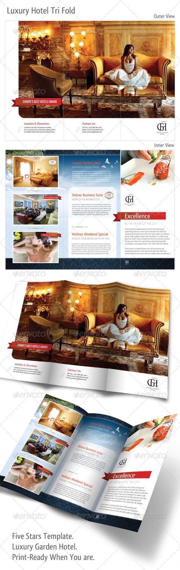 Graphic River Tri-fold Luxury Garden Hotel Print Templates -  Brochures  Corporate 489901
