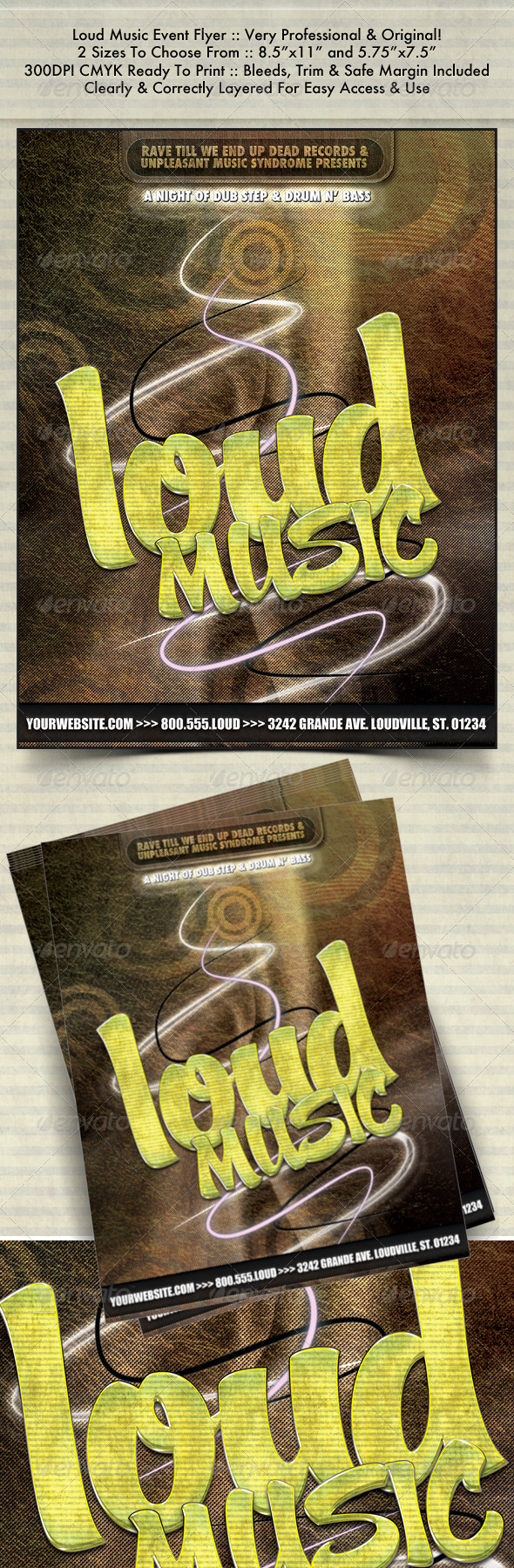 Graphic River Loud Music Night Club Flyer Print Templates -  Flyers  Events  Clubs & Parties 489972