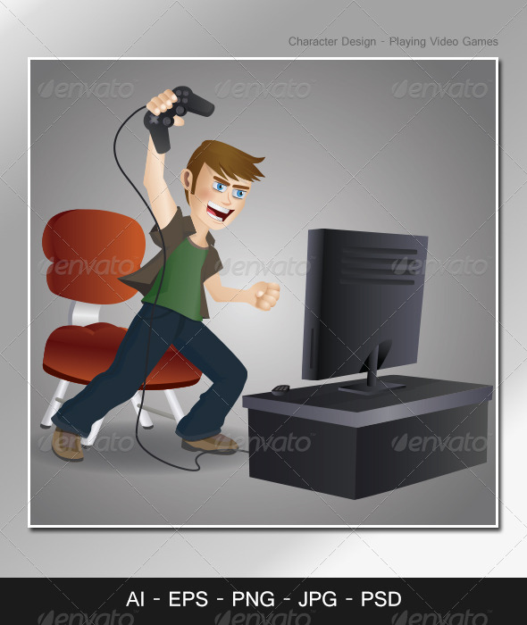 GraphicRiver Character Design Playing Video Games 4680656