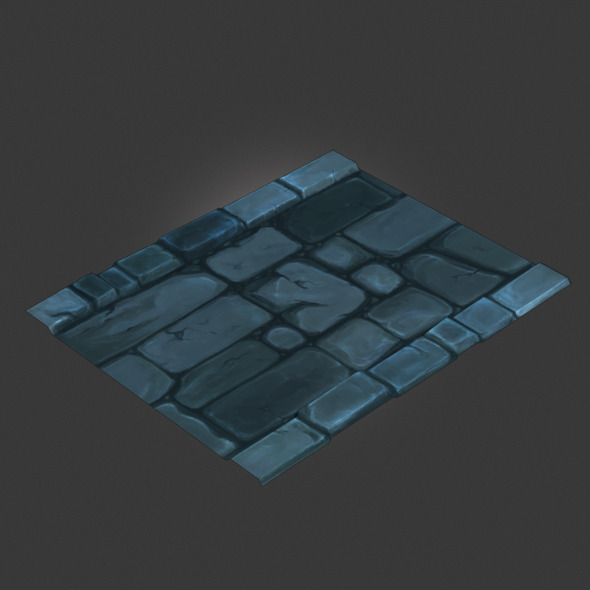 3DOcean Low Poly Dungeon Stone Road Segment 4680823