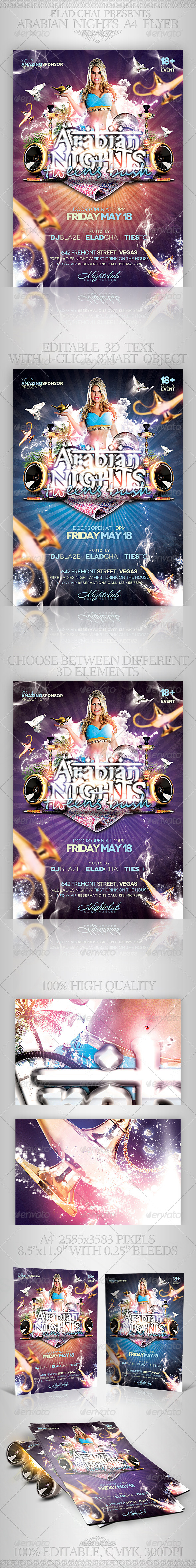 GraphicRiver Arabian Nights A4 Flyer Poster Template 4606189