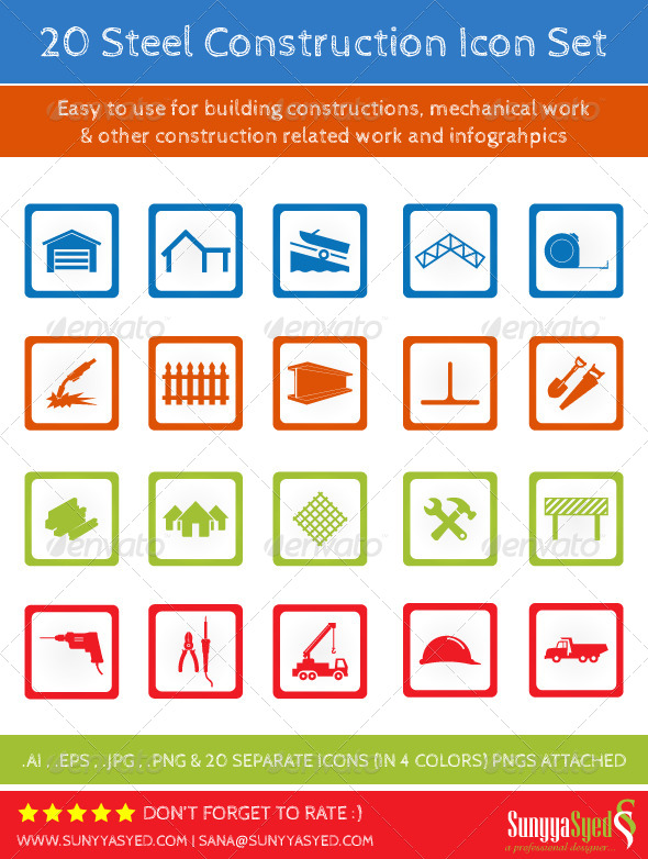 GraphicRiver 20 Steel Construction Icons 4591629
