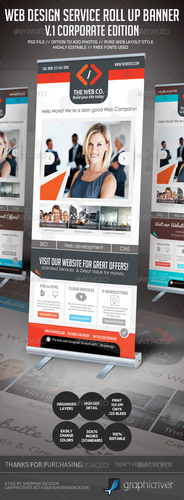 GraphicRiver Web Design Service Roll Up Banner Signage 1 4610673