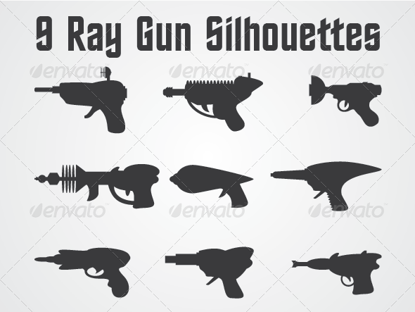 GraphicRiver 9 Ray Gun Silhouettes 4669831