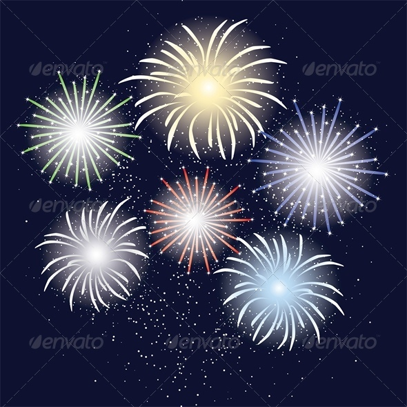 GraphicRiver Holliday Fireworks in Dark Sky 4681921