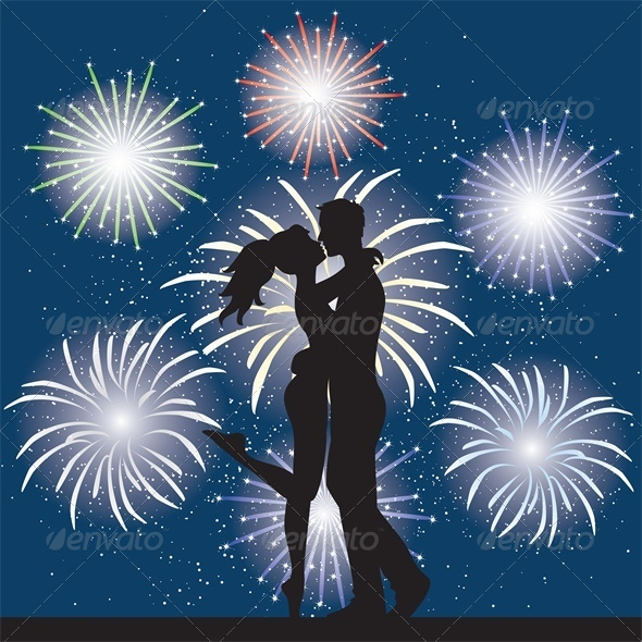 GraphicRiver Lovers at Night and Fireworks 4682050