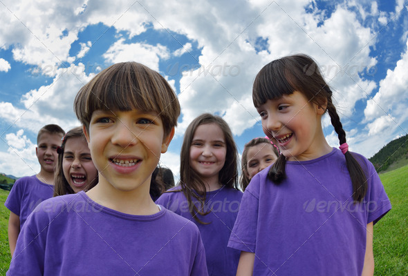happy kids group  have fun in nature - Stock Photo - Images