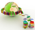 books fly into belt round the earth - PhotoDune Item for Sale