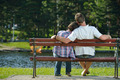 Portrait of romantic young couple smiling together outdoor - PhotoDune Item for Sale
