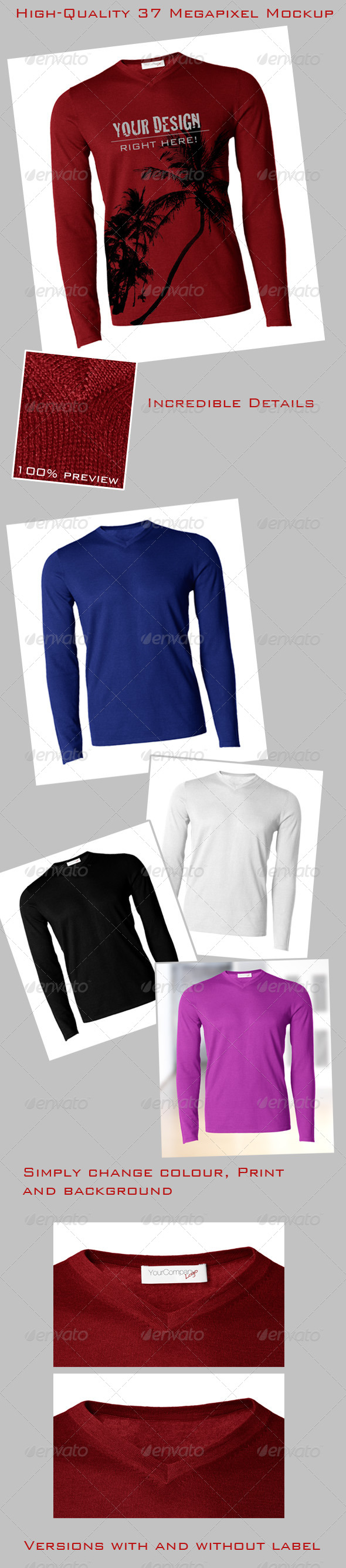 GraphicRiver Pullover Longsleeve Sweater Mock-Up Male 4683627