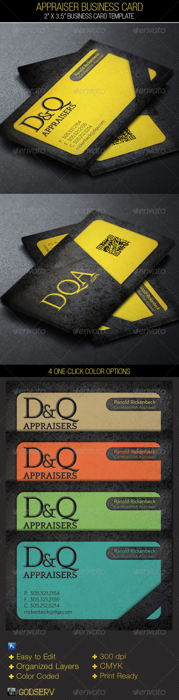 Appraiser Business Card Template - Industry Specific Business Cards