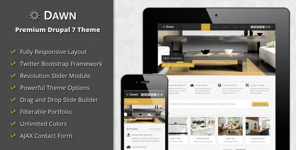 ThemeForest Dawn Responsive Drupal 7 Theme 4685987