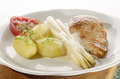 white asparagus with potato and tomato - PhotoDune Item for Sale