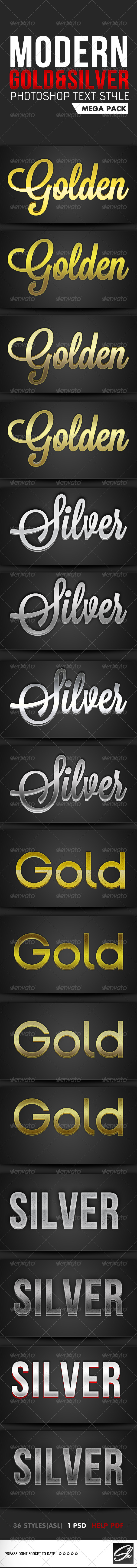 GraphicRiver Gold & Silver Photoshop Text Style Mega Pack 4686449