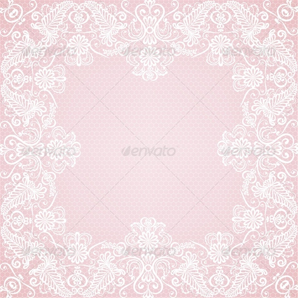 GraphicRiver Wedding Invitation or Greeting Card with Lace Bord 4686962