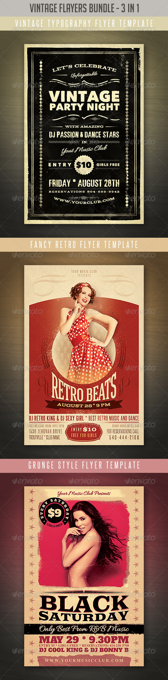 Vintage & Retro Flyers Bundle 2 - Events Flyers