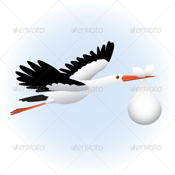 GraphicRiver Flying Stork with Baby 4687057