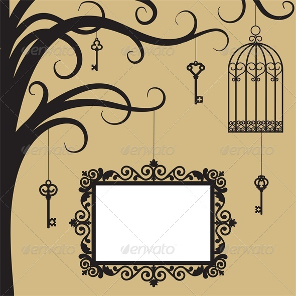 GraphicRiver Cage Keys and Frame on Tree Branch 4687090