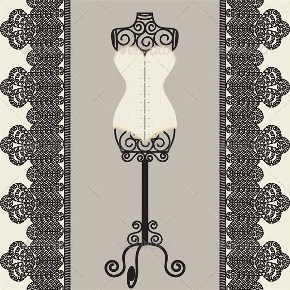 GraphicRiver Vintage Card with Corset 4687107