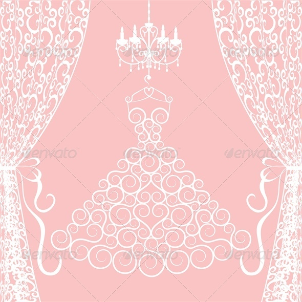 GraphicRiver Wedding Card with Dress Curtains and Chandelier 4687116
