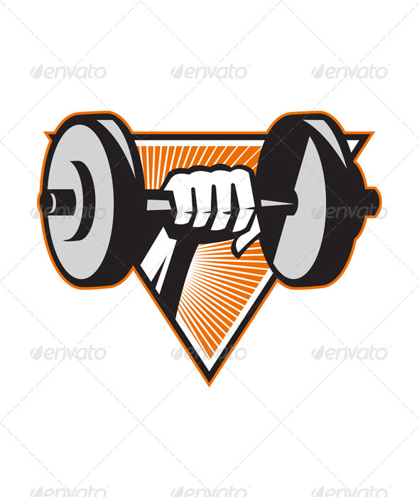 GraphicRiver Hand Lifting Dumbbell Retro 4687415