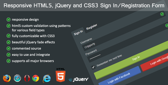 CodeCanyon Responsive HTML5 jQuery Sign In Registration Form 4615470