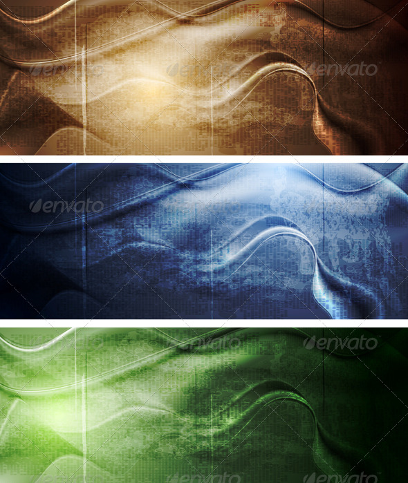 GraphicRiver Elegant Grunge Waves Banners 4687740