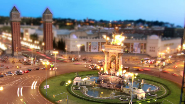 Barcelona Roundabout Traffic Fountain Time Lapse