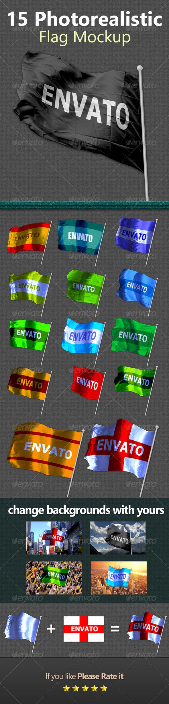 GraphicRiver 15 Photorealistic Flag Mockups 4602912