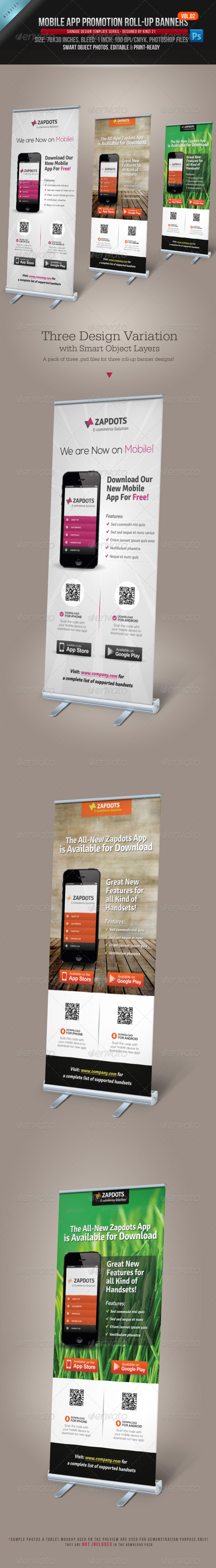 Mobile App Promotion Roll-up Banners Vol.02 - Signage Print Templates