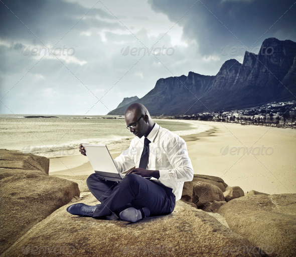 work at the beach - Stock Photo - Images
