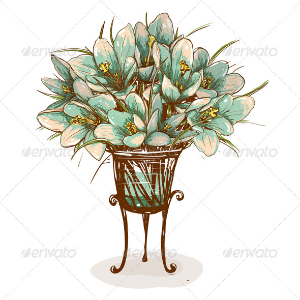 GraphicRiver Vintage Flowers in Vase Composition 4690456