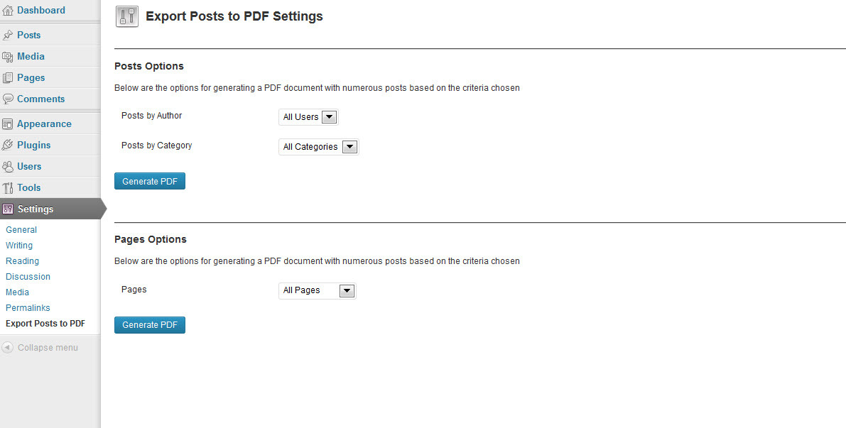 Wordpress Backend Posts to PDF Plugin - A screenshot of the interface for exporting posts to PDF