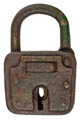 Antique brown rusted metal padlock isolated on white - PhotoDune Item for Sale