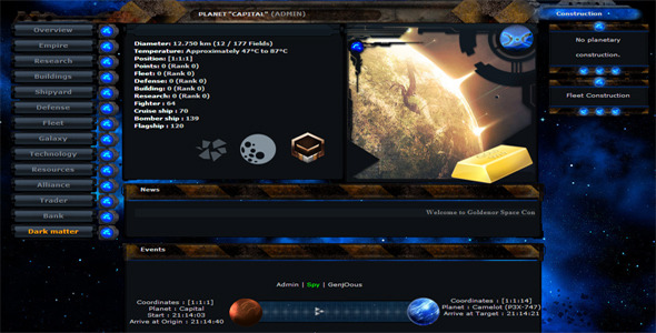 CodeCanyon Goldenor Space Conquest MMORPG Space Game 4649503