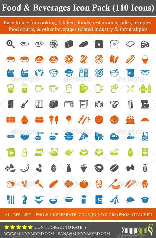 GraphicRiver Food & Beverages Icon Pack 110 Icons 4691096
