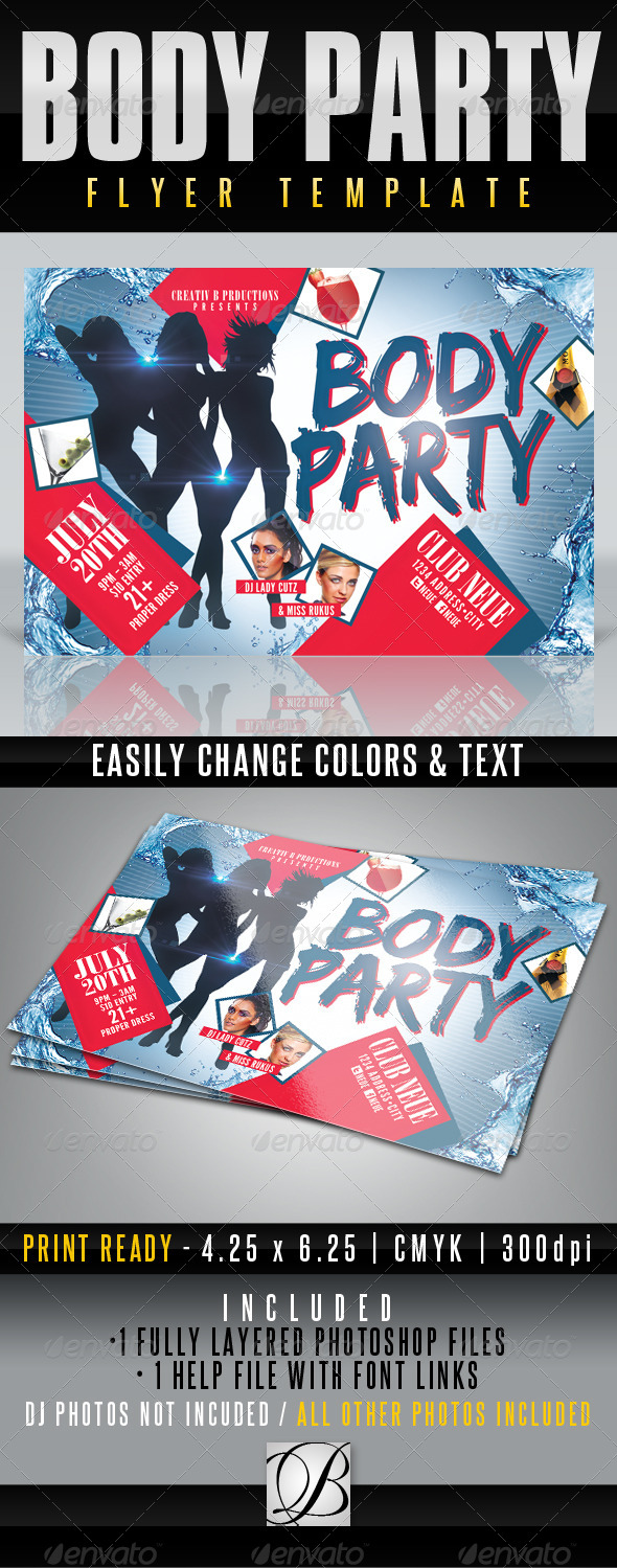 GraphicRiver Body Party Flyer Template 4611169