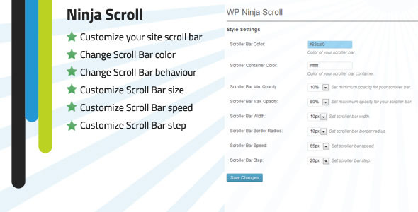 WP Ninja Scroll Bar customizer