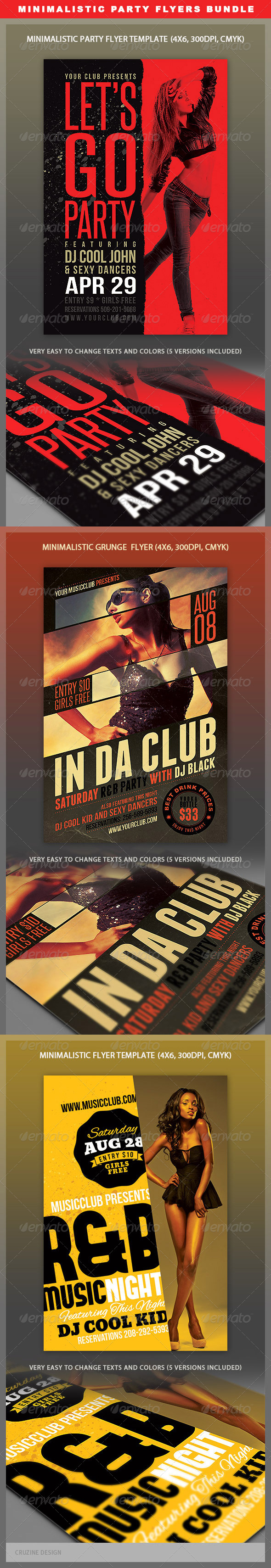 GraphicRiver Minimalistic Party Flyers Bundle 4691713