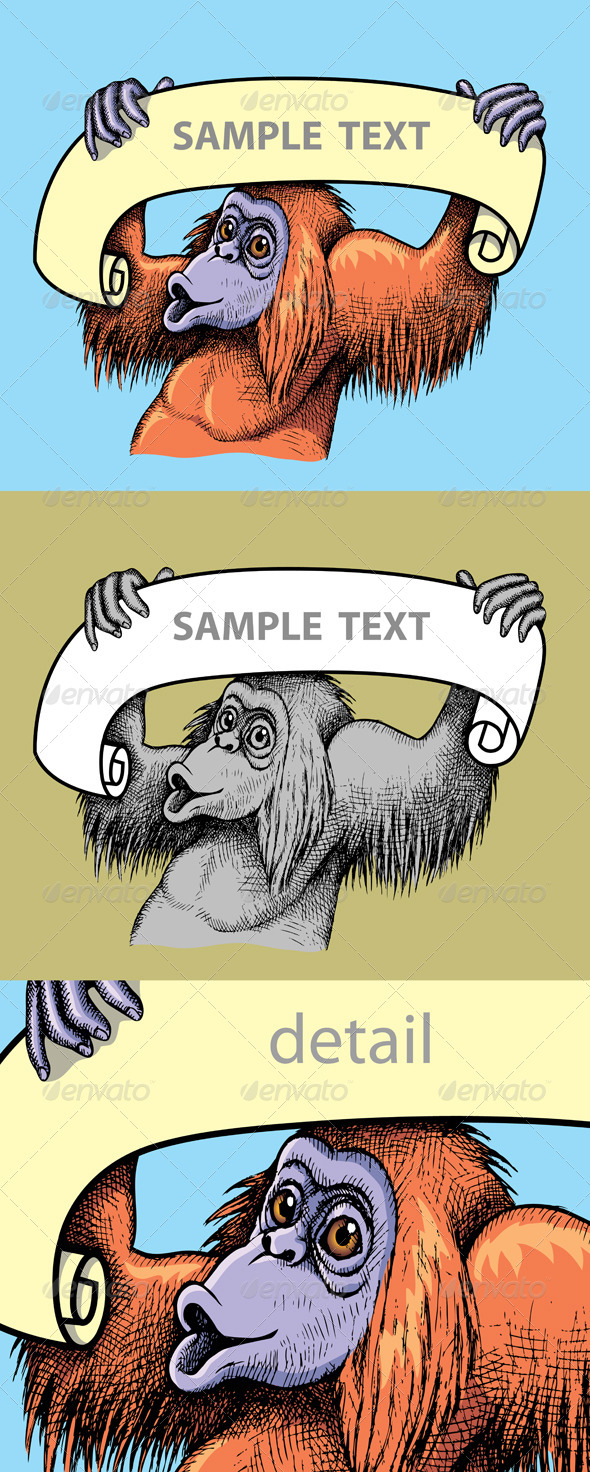 GraphicRiver Orangutan Hand Drawn 4692349